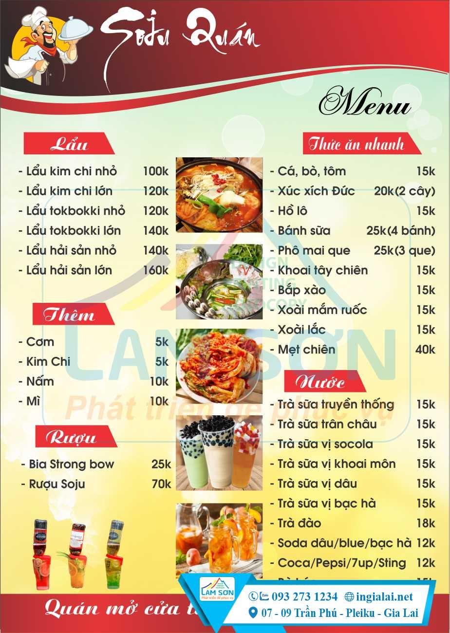 Mẫu menu thông dụng